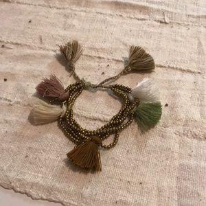 Bauble Bar Tassel Bracelet Gold/Green/Brown/White